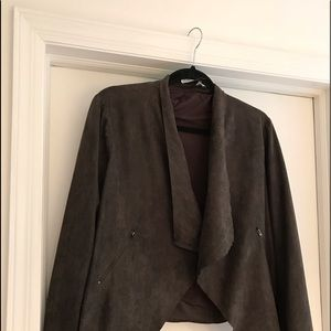 Gray/brown faux suede jacket